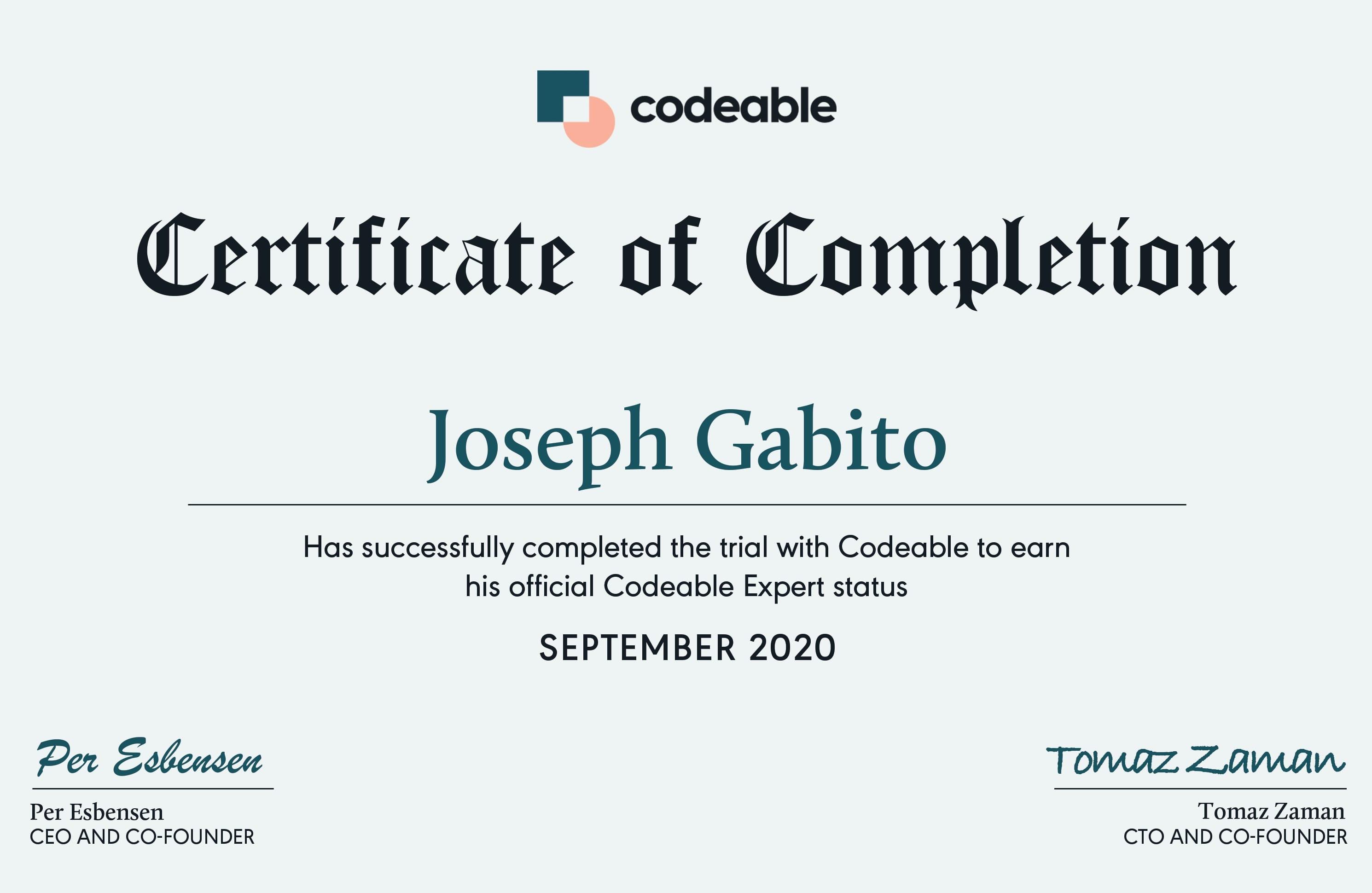 Joseph Gabito's Codeable Certificate
